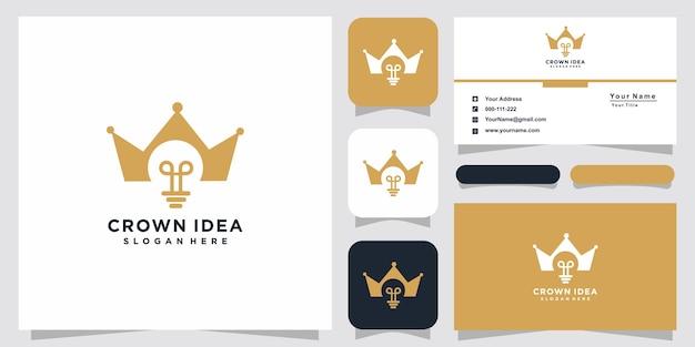 Modelli di logo della lampada della lampadina della corona e design del biglietto da visita
