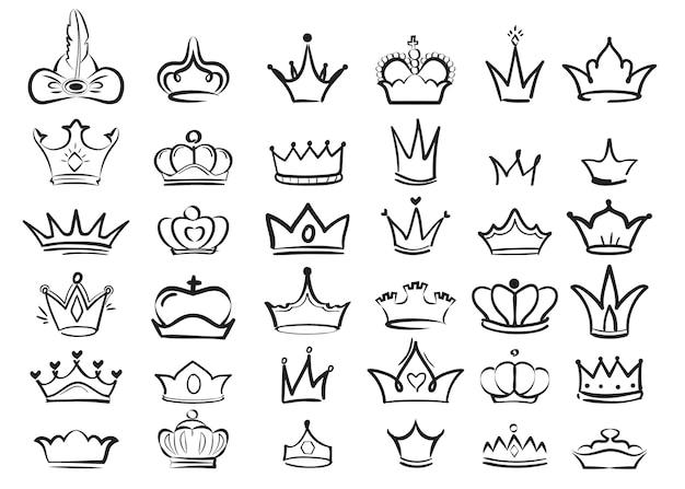 Doodles di corona. imperiale re diadema regale simboli maestoso schizzo set. illustrazione disegno corona re o regina, maestoso simbolo monarca