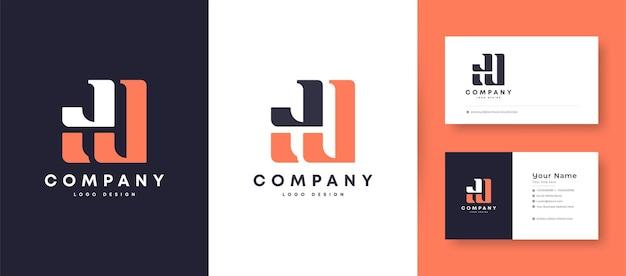 Corona piatta minima iniziale j, jj e jl lettera logo con modello di progettazione di biglietto da visita premium