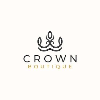 Modello di logo del modello di logo floreale della corona.