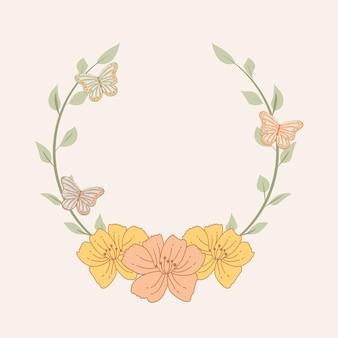 Corona di fiori con farfalle. stile vintage.