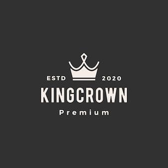 Illustrazione d'annata dell'icona di logo dei pantaloni a vita bassa della corona
