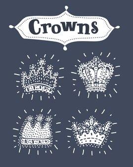 Le icone della corona hanno messo l'illustrazione vettoriale