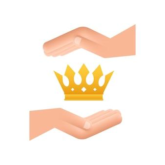 Corona del re appesa sulle mani isolato su sfondo bianco icona reale d'oro