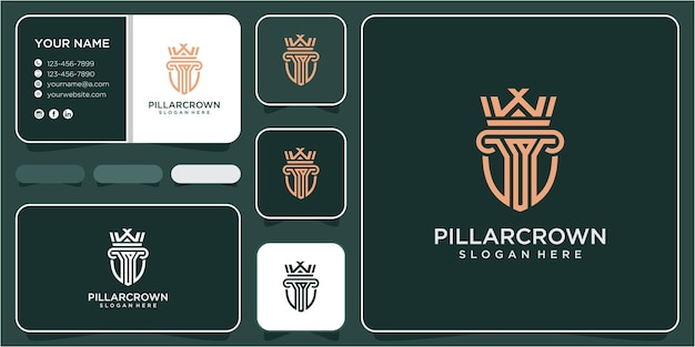 Design del logo della legge corona. concetto di design del logo della legge pilastro. modello di progettazione del logo del pilastro