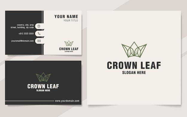 Modello di logo foglia corona su stile monogramma