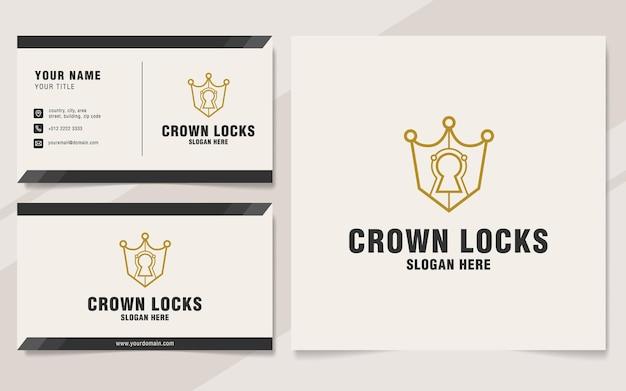 Modello di logo di serrature a corona su stile monogramma