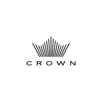 Corona logo icona linea strisce stile