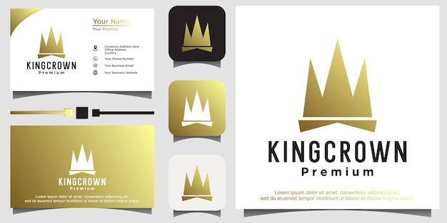 Logo della corona. queen king princess crown royal elegante logo design