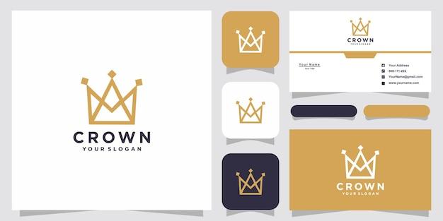 Modelli di logo corona e design di biglietti da visita