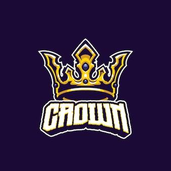 Modello di logo della mascotte della corona