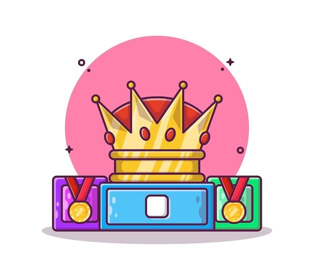 Cartone animato corona e medaglia
