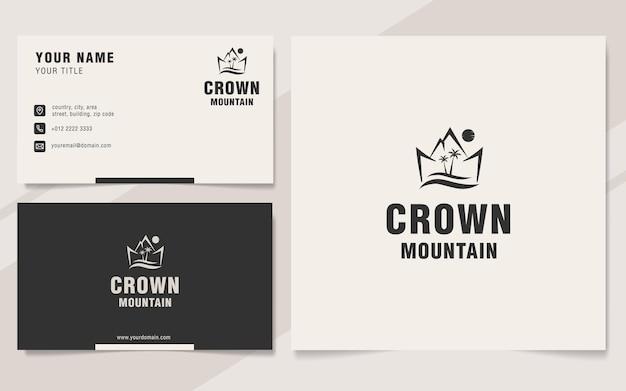 Modello di logo di montagna corona in stile monogramma