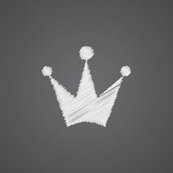 Icona di doodle del logo di schizzo della corona isolata su sfondo scuro