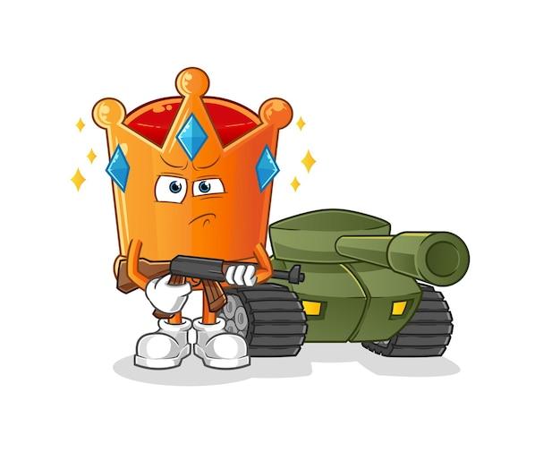 Il soldato corona con il carro armato. mascotte dei cartoni animati