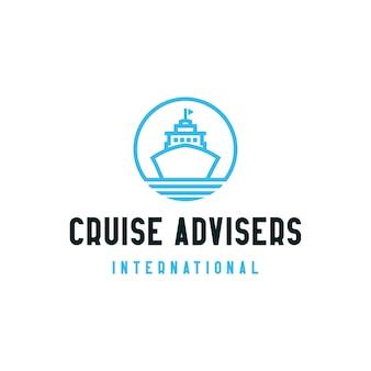 Simbolo dell'icona di progettazione di logo di consulenti di crociera