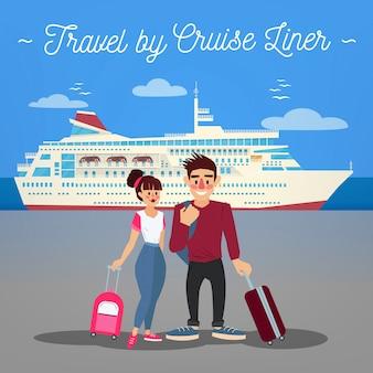 Cruise liner travel. nave da crociera. nave passeggeri. industria del turismo. persone attive. ragazza con bagaglio. uomo con bagaglio. coppia felice
