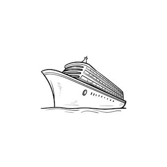 Icona di doodle di contorni disegnati a mano di nave da crociera. vacanze e viaggi in nave, viaggi e tour marittimi, concetto di consegna