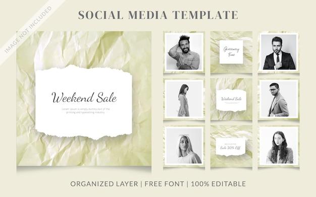 Modello di messaggio di vendita di social media di moda in carta stropicciata