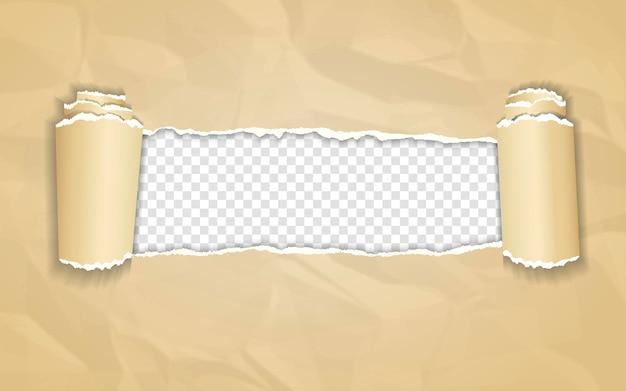 Carta stropicciata con bordo arrotolato su trasparente
