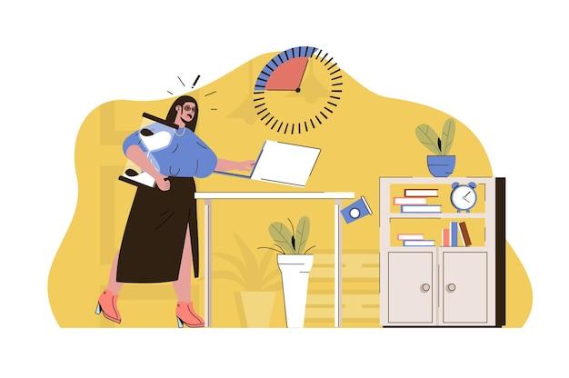 Concetto di crunch time la donna non completa l'attività di lavoro a tempo debito