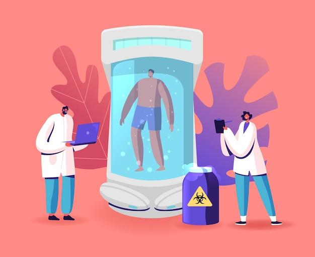 Cryonics technology, cryoconservation scientific investigation illustration