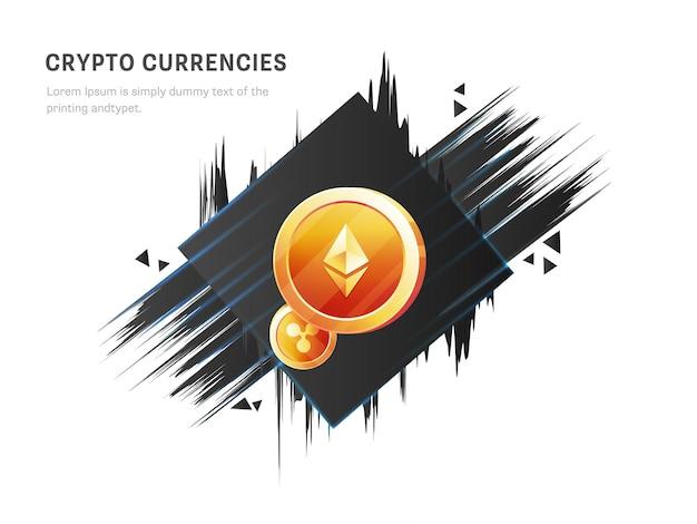 Concetto di criptovalute con monete d'oro 3d crypto ed effetto pennello su sfondo bianco.