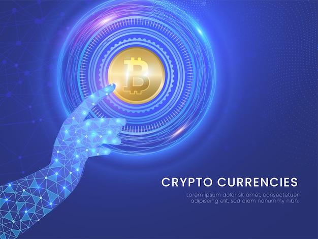 Crypto valute concetto con mano futuristica toccando bitcoin dorato su sfondo blu linee di connessione digitale.