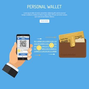 Concetto di tecnologia bitcoin di criptovaluta