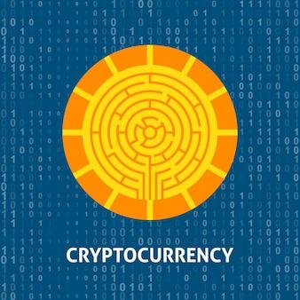 Concetto di moneta di valuta cripto. illustrazione vettoriale con oggetti di tecnologia finanziaria.