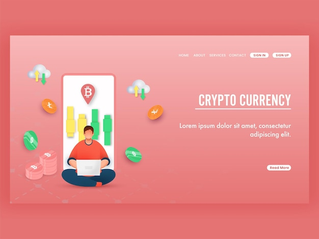 Progettazione della pagina di destinazione di valuta cripto con dipendente che lavora al computer portatile, dispositivo di scorrimento nella schermata dello smartphone e monete crittografiche.