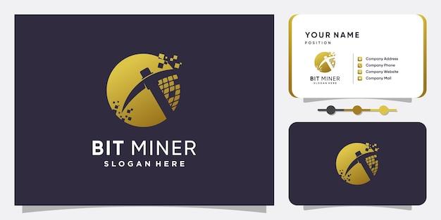 Progettazione del logo di mining di criptovalute con concept creativo vettore premium