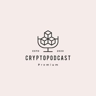 Icona vintage retrò di logo cripto podcast hipster per blockchain criptovaluta blog video vlog tutorial tutorial