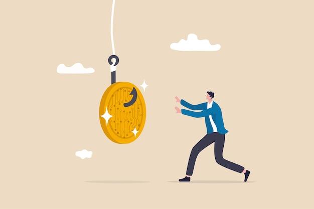 Truffe o frodi crittografiche, bugiardo crea un'offerta iniziale di monete ico per adescare investitori avidi o concetto di trader, uomo d'affari avido che corre per afferrare la truffa delle monete di criptovaluta.