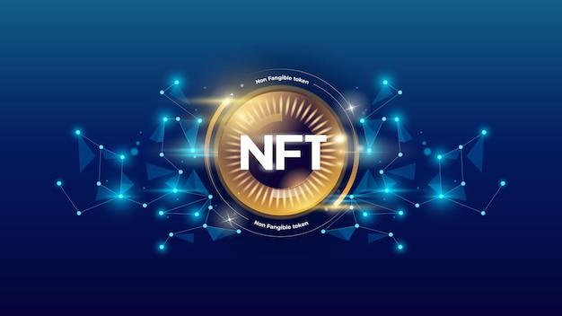 Token crittografico nft. token non fungibile. disegno di illustrazione vettoriale.