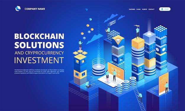 Composizione isometrica di criptovaluta e blockchain. creazione della piattaforma di valuta digitale.