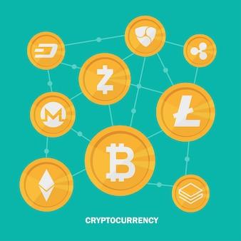Criptovaluta su sfondo blu, valuta digitale, denaro digitale futuristico, concetto di rete mondiale della tecnologia. illustrazione vettoriale.