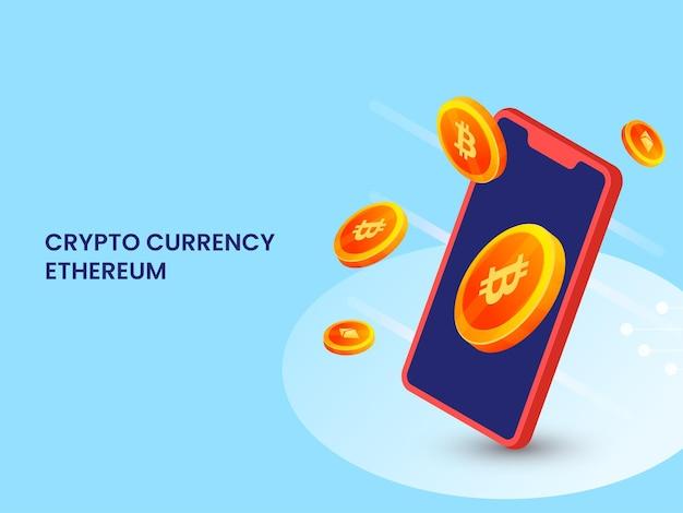 Concetto di ethereum di criptovaluta con smartphone di rendering 3d e monete crypto su sfondo blu.