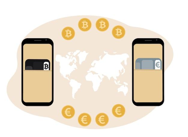 Scambio di criptovaluta e concetto di archiviazione. mobile con illustrazione di carte di plastica per criptovaluta e valuta.