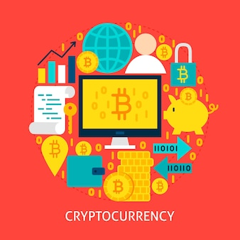 Concetto piatto di criptovaluta. illustrazione di vettore di progettazione del manifesto. insieme di oggetti bitcoin.