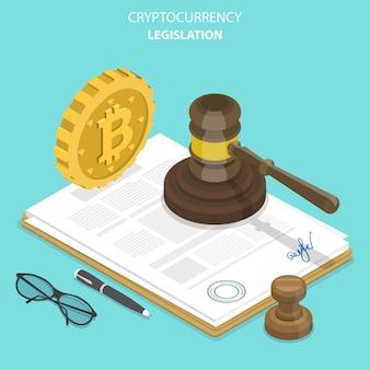 Concetto isometrico piatto di legislazione sulle criptovalute