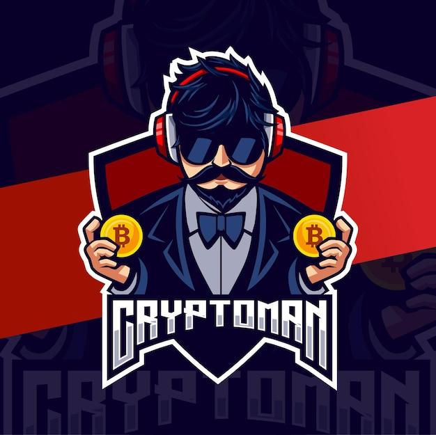 Personaggio mascotte dell'uomo di criptovaluta per il design del logo di mining e gioco