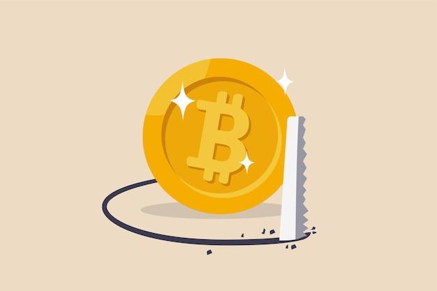 Calo del mercato delle criptovalute, crollo del bitcoin e crisi dei prezzi delle monete crittografiche, trappola commerciale o concetto di trappola, ladro che sega il pavimento per far cadere il crollo del bitcoin.