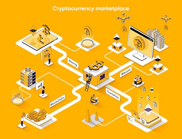 Isometria piana di banner web isometrico di mercato di criptovaluta