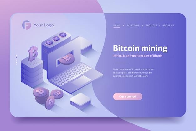 Fattoria di mining di criptovaluta. tecnologia di criptovaluta e blockchain, creazione di bitcoin. isometrico