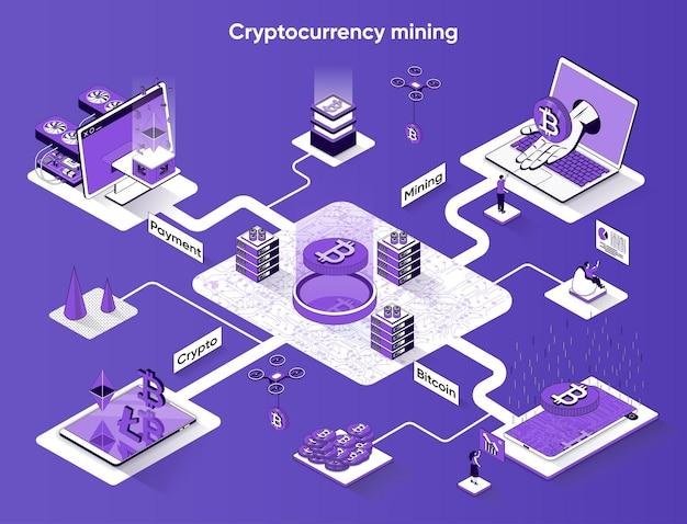 Isometria piana di banner web isometrico di mining di criptovaluta