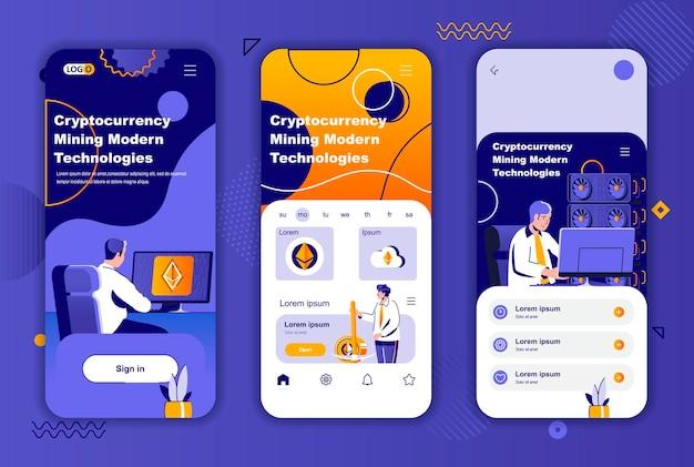 Modello di schermate per app mobili di mining di criptovaluta per storie di social network