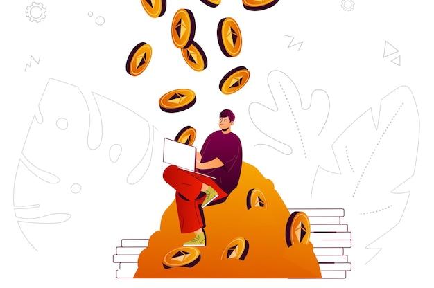 Criptovaluta mining web concept uomo aumenta bitcoins profitto denaro digitale