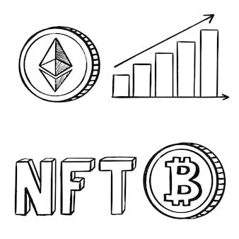 Le icone di schizzo di criptovaluta nft bitcoin ed ethereum impostano il disegno vettoriale di doodle di mining e investimento ...