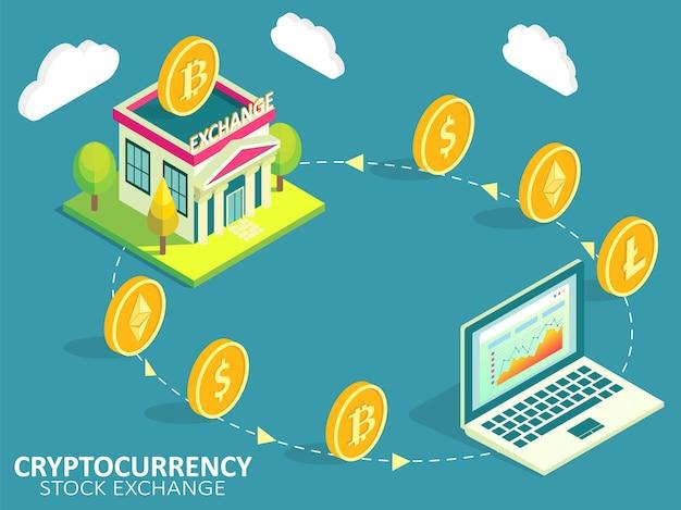 Infografica del processo di borsa di criptovaluta. acquisto, vendita o scambio di criptovalute per un'altra valuta digitale o un concetto di moneta legale.